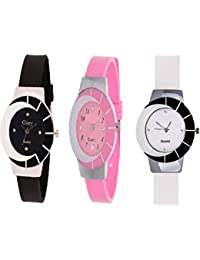 Royal India Overseas New Stylish Combo Of 3 Watch For Grils & Women (Black, Pink And White)