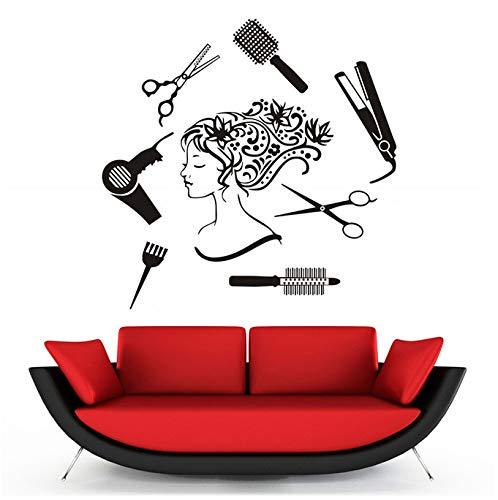 Parrucchiere strumenti per parrucchieri ragazza adesivi murali fai-da-te creativo salone di bellezza staccabile impermeabile adesivi murali decorazione domestica 58x59cm