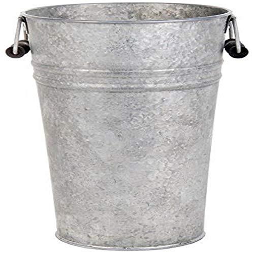 Esschert Design Blumentopf, Übertopf Vase in grau aus verzinktem Metall, Größe L, ca. 19 cm x 16 cm x 30 cm