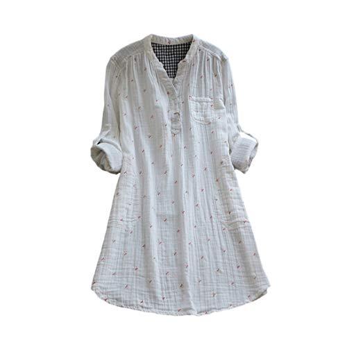 CAOQAO ❀ V-Ausschnitt LäSsige Stretch Falten Bluse Langarmshirt Lose Casual Bluse Art- Und WeisehüLse V-Ansatz Bluse, Die BeiläUfige Lose Hemd-Oberseiten Plus GrößE Druckt