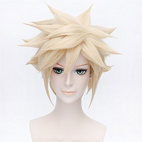 LanTing Final Fantasy VII Cloud Strife Gold Short Styled Woman Cosplay Party Fashion Anime Wig (Final Fantasy Halloween-kostüm Cloud)
