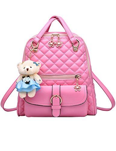 Menschwear PU Zaino Satchel Daypack sacchetto di scuola Diamante Blu Rosa