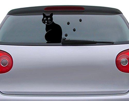 Autoaufkleber Kätzchen B x H: 25cm x 34cm Farbe: schwarz von Klebefieber®