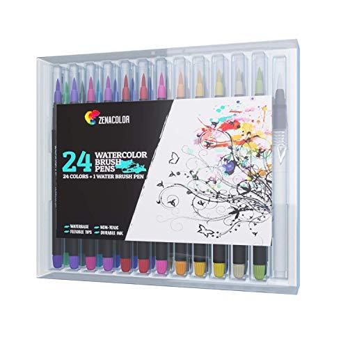 24 Wasserfarben Pinselstifte und 1 Aqua Brush von Zenacolor - Ungiftige Wasserbasis Markers - Aquarell Wasserfarben Pinselstift - Weiche und Flexible Spitze, für Kalligrafie, Färbung oder Manga