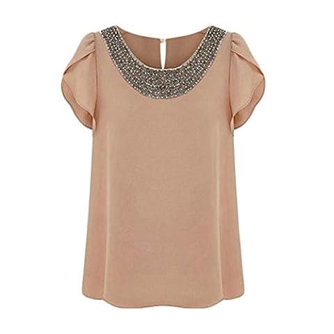 Frauen Tunika Große Größen Elegant Rundkragen Kurzarm T-Shirts Bestickt Perlstickerei Normallacks Sundress Blusen Tops (L, Braun)