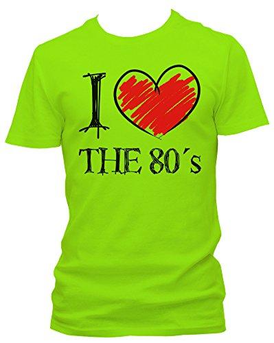 I love the 80's FUN NEON , Größe:XXL;Farbe:neon grün (Ich Liebe 80er-jahre-shirt)