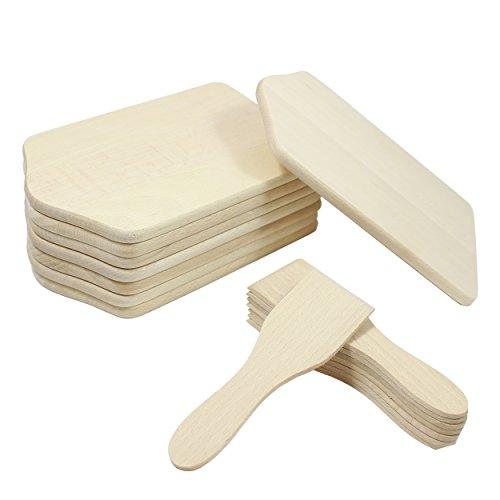 16 Teilig Raclette Zubehör Set aus Holz Set Racletteschaber / Brettchen 8 Untersetzer 8 Spachteln aus Buchenholz