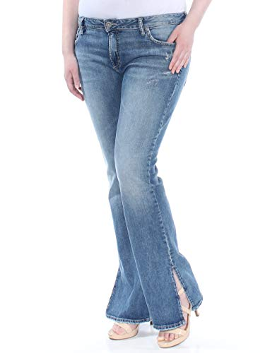 Silver Jeans Co. Damen Avery Curvy Fit High Rise Bootcut with Vent Jeans, Medium Indigo, 34W x 33L