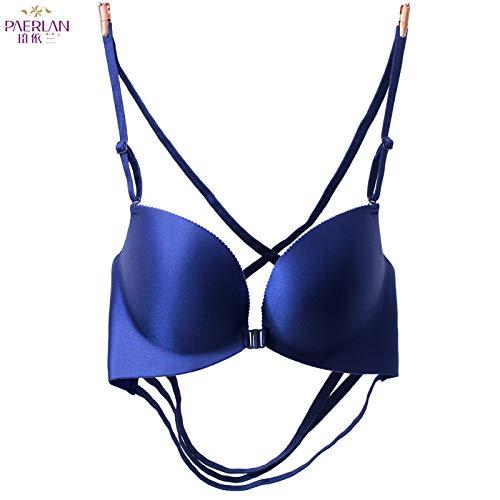 e BH ohne Stahlring BH weiblich glatt No Trace BH kleine Brust Unterwäsche Damen BH dunkelblau 75A ()
