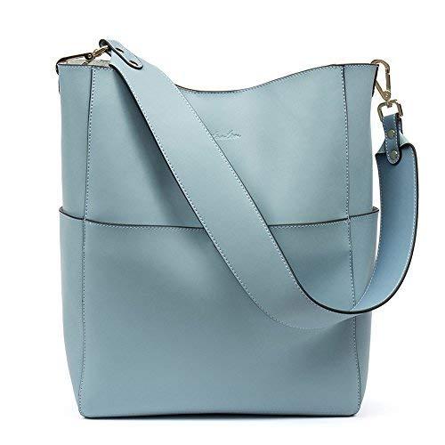 BOSTANTEN Leder Damen Handtasche Schultertasche Designer Umhängetasche Tasche Groß Hellblau