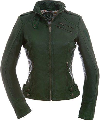 Magnifica Valery, giacca da donna in pelle allamoda, in colore verde verde abete 42