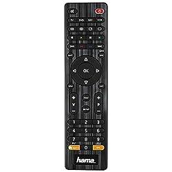 Hama Universal Fernbedienung 4-in-1 Smart TV (bis zu 4 Geräte steuern, über 1000 Marken vorprogrammiert, TV/DVD/STB/VCR, IR Multifunktionsfernbedienung Ersatzfernbedienung) schwarz