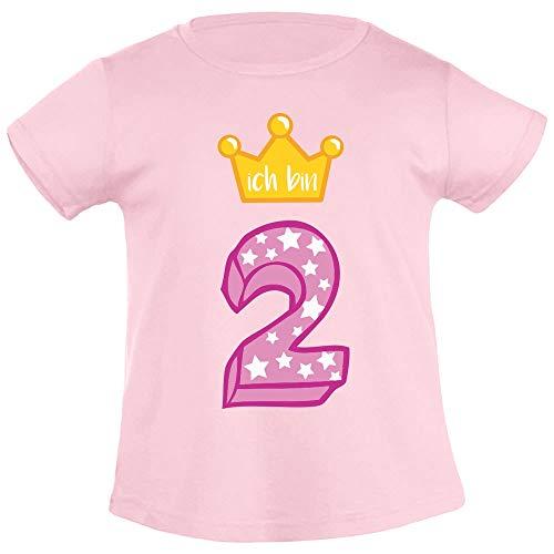 Mädchen Shirt Geburtstag (Ich Bin Zwei Goldene Krone 2 Geburtstag Mädchen T-Shirt 96/104 (3-4J) Rosa)