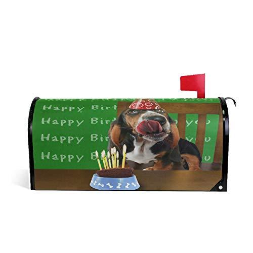 Alaza(mailbox cover) WOOR A Basset Hound mit Kuchen magnetischer Briefkasten-Abdeckung, Standardgröße, 45,7 x 52,1 cm 25.5x20.8 inch Oversized Multi