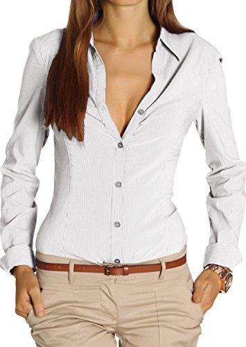 Bestyledberlin Damen Blusen, Hemden tailliert, Stretch Oberteil Tops t25z 42/XL weiß (Damen Nadelstreifen-hemd)