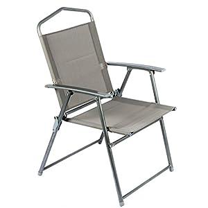BAKAJI Sedia Pieghevole in Alluminio con Braccioli Campeggio Spiaggia Giardino Dimesnione 92 x 56 x 61 cm (Grigio)