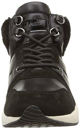 Geox D Omaya E, Damen Hohe Sneakers Schwarz (c9999/vit Liscio/agnello)