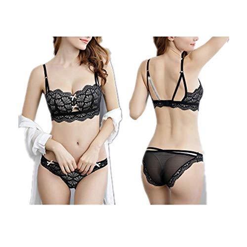 YUHUALI Beauty zurück halbe Tasse sammeln ohne Felgen sexy Spitzen-BH-Set schwarz 70A + S Unterwäsche -