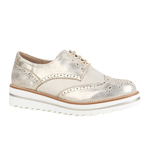 Damen Schuhe Halbschuhe Lack Glitzer Brogues Dandy Profilsohle 156165 Gold Brogues 37 Flandell