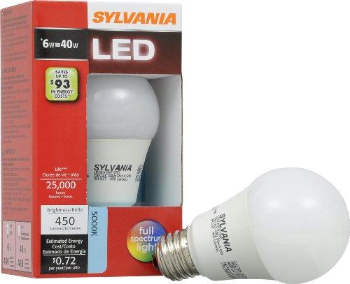 Sylvania Lumen A19LED weiß Glühbirne 6 W = 40 W Tageslicht, Weiß (Led Philips Base Medium)
