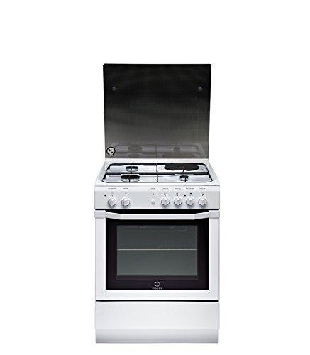 Indesit I6M6CAG(W)/FR Autonome Cuisinière à gaz Noir, Blanc four et cuisinière - Fours et cuisinières (Cuisinière, Noir, Blanc, boutons, Rotatif, Devant, Cuisinière à gaz, Moyenne)