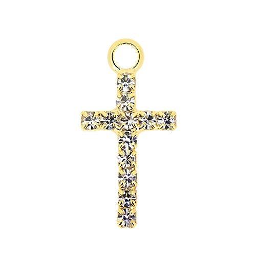 Accessoire Pièces Métal Pièce Charme Zirconia Stones Cross Gold