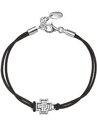 Esprit Damen Armband 925 Sterling Silber rhodiniert Stoff Zirkonia In Cross 16 cm weiß S.ESBR91566A160
