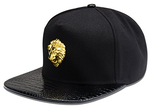 alwaysbling-hip-hop-style-fashion-unisex-5-colors-lion-head-logo-tag-baseball-cap-hat-black