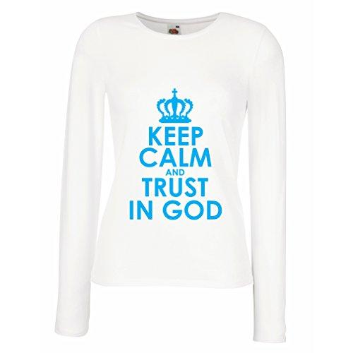 Weibliche Langen Ärmeln T-Shirt Vertraue Gott! Jesus Christus liebt Dich - Ostern - Auferstehung - Geburt Christi, Christliche Kleidung (X-Large Weiß Blau)