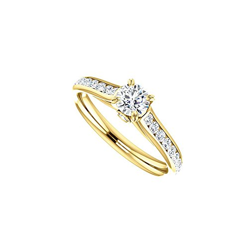 April Birthstone Diamond Engagement Rings in 14kt Yellow Gold 1.00 CT TGW (Gelbe 14kt Gold Engagement Ring)