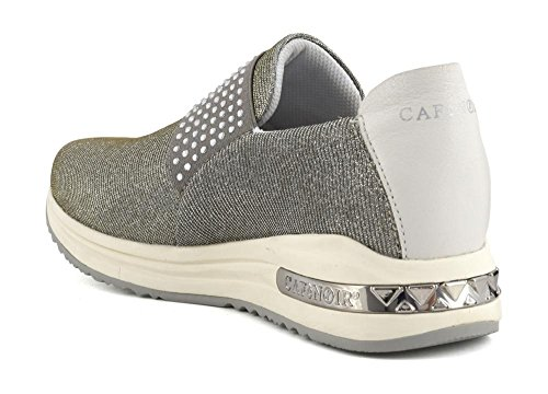 CAF NOIR DA945 silberne Schuhe Frau sheakers niedrigen Schlupf auf  elastischen 204 ARGENTO ...