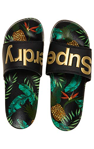 Superdry Beach Slide, Tongs Femme, Multicolore (Black/Pineapple Aop J2j), 36-37 EU