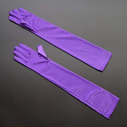 dyudyrujdtry Worthwhile Stretch Satin Extra Lang Handschuhe Handgelenk Ellenbogen Opera Abend Party Kostüm in Feinem Stil - Lila, 5