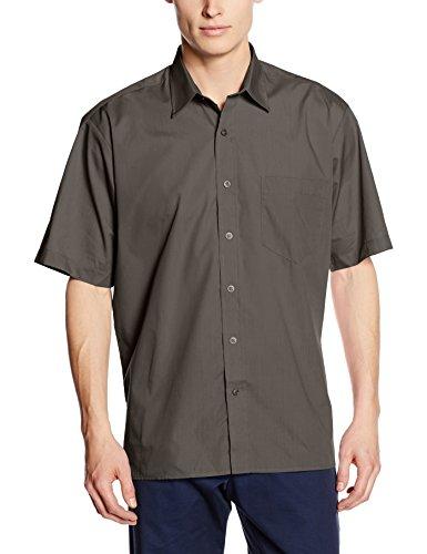 Premier Workwear Premier Popelin Herren Hemd, kurzärmlig (Kragenweite 37cm) (Dunkelgrau)