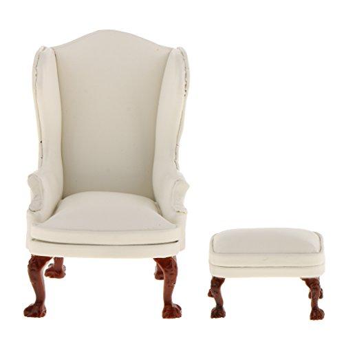 Baoblaze 1/12 Puppenhaus Wohnzimmer Möbel - Miniatur Ohrensessel Sessel mit Fußhocker Set - Weiß