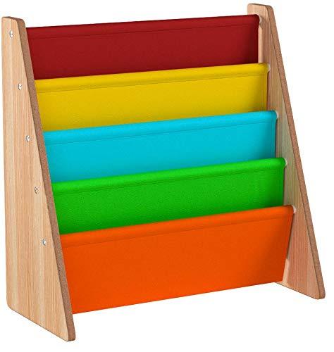 LIVIVO, scaffale in legno per bambini, con tasche di facile accesso in morbido tessuto di nylon per proteggere i libri, dell'altezza perfetta per i piccoli lettori Multi-colour
