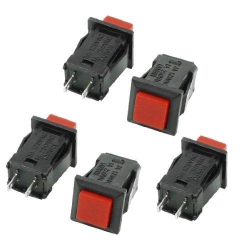 DealMux AC 250 V / 1 A 125V / 3A Verriegelung SPST Red Square Push Button Switch (5 Stück) -