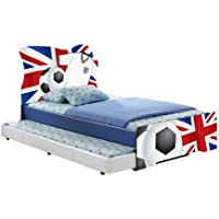 Excellent Quality Blue PU Faux Leather EU Single Children's Bed with Printed Union Football Design (Bed Frame Only)