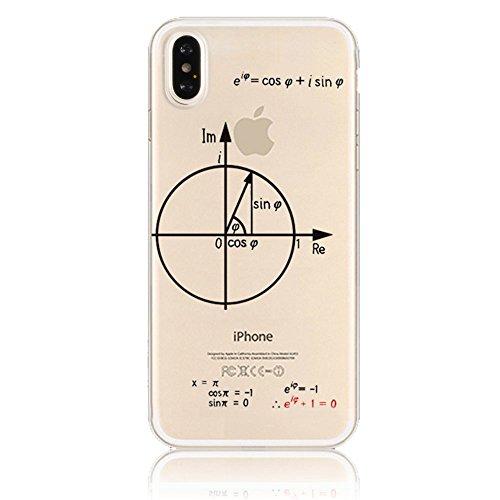 Per Apple iphone X 5.8 Case Cover, Sunroyal [Anti-scratch] [Protezione goccia] TPU Gel Silicone Custodia Caso Creative logo Morbido Copertura Trasparente Cristallo Chiaro Bumper Soft Skin Protezione, Modello 20
