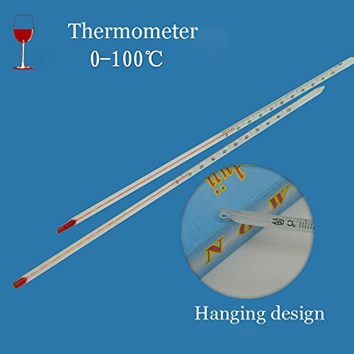 Bluelover 0-100 Grado Vidrio Termómetro Home Brew