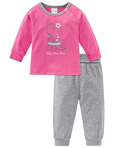 Schiesser Mädchen Baby Anzug lang 2-teilig Zweiteiliger Schlafanzug, Rot (Pink 504), 86 (Herstellergröße: 086)
