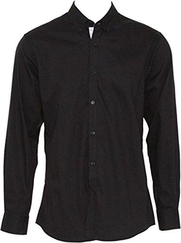 Kustom Kit Oxford Hommes manches longues col boutonné Contraste Premium pour femme - Black/ Silver Grey
