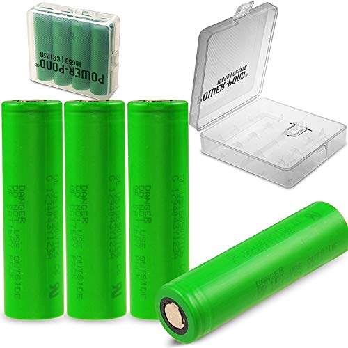 Powerpond 4-er Pack Murrata VTC6 ICR-18650 3120 mAh, 30A, Flat inkl.Premiumbox - 18650 Lithium-batterie