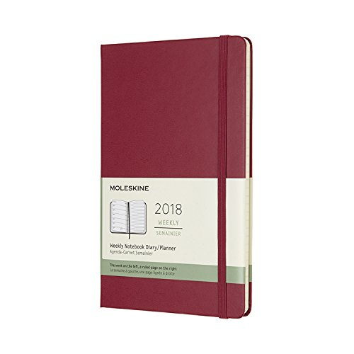 Agenda 2018 semainier grand format rigide rose framboise