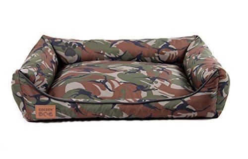 Golden Dog Hundebett Hundesofa Hundekissen abnehmbarer Bezug, pflegeleicht, abwaschbar Army Camouflage Khaki S-70x55cm
