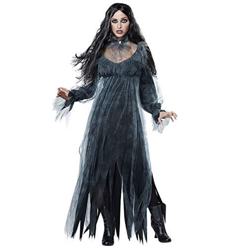 (Lisli Halloween Kostüm Geist Kostüm Braut Gothic Damenkostüm Zombie Leiche Mesh Vampir Zerrissen Spielbekleidung)