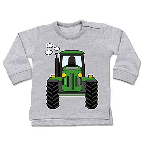 Shirtracer Fahrzeuge Baby - Traktor Front - 18-24 Monate - Grau meliert - BZ31 - Baby Pullover