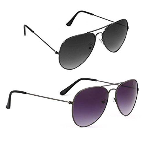 Elligator Combo Of 2 Aviator Unisex Sunglasses - (Avblk-Sprt-Box-Sg|Black)