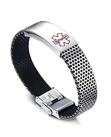Vnox Stainless Steel Medical Alert ID Bracelet Free Engraving Diabetes,Cancer Etc for Men Women Unisex
