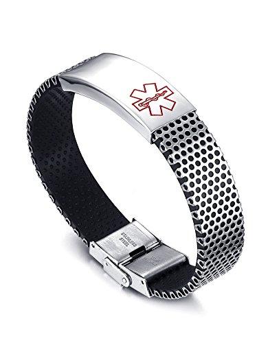 Vnox Edelstahl Medical Alert ID Armband freies Engraving Diabetes,Krebs usw für Männer Frauen Unisex